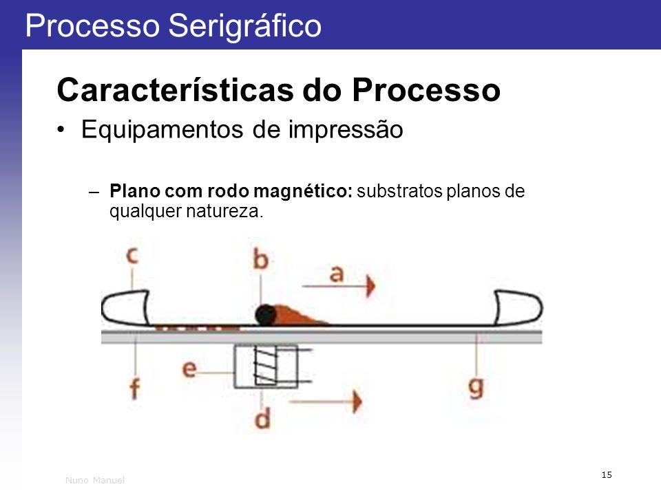 Processo Serigráfico 15 Nuno Manuel Características do Processo Equipamentos de impressão –Plano com rodo magnético: substratos planos de qualquer nat