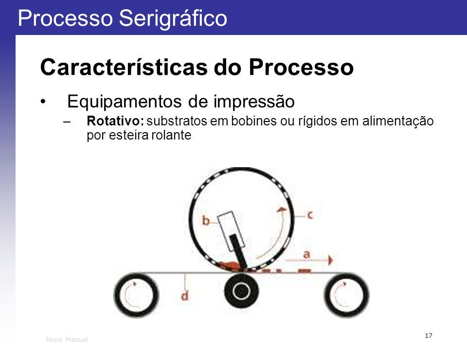 Processo Serigráfico 17 Nuno Manuel Características do Processo Equipamentos de impressão –Rotativo: substratos em bobines ou rígidos em alimentação p
