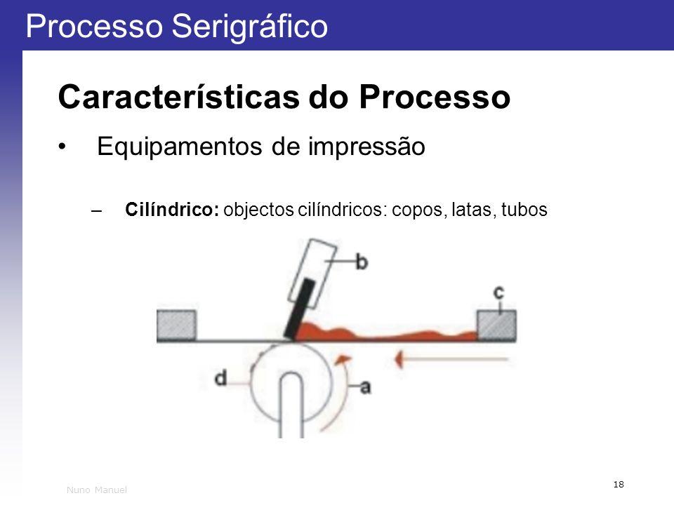 Processo Serigráfico 18 Nuno Manuel Características do Processo Equipamentos de impressão –Cilíndrico: objectos cilíndricos: copos, latas, tubos