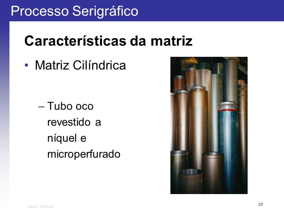 Processo Serigráfico 20 Nuno Manuel Características da matriz Matriz Cilíndrica –Tubo oco revestido a níquel e microperfurado