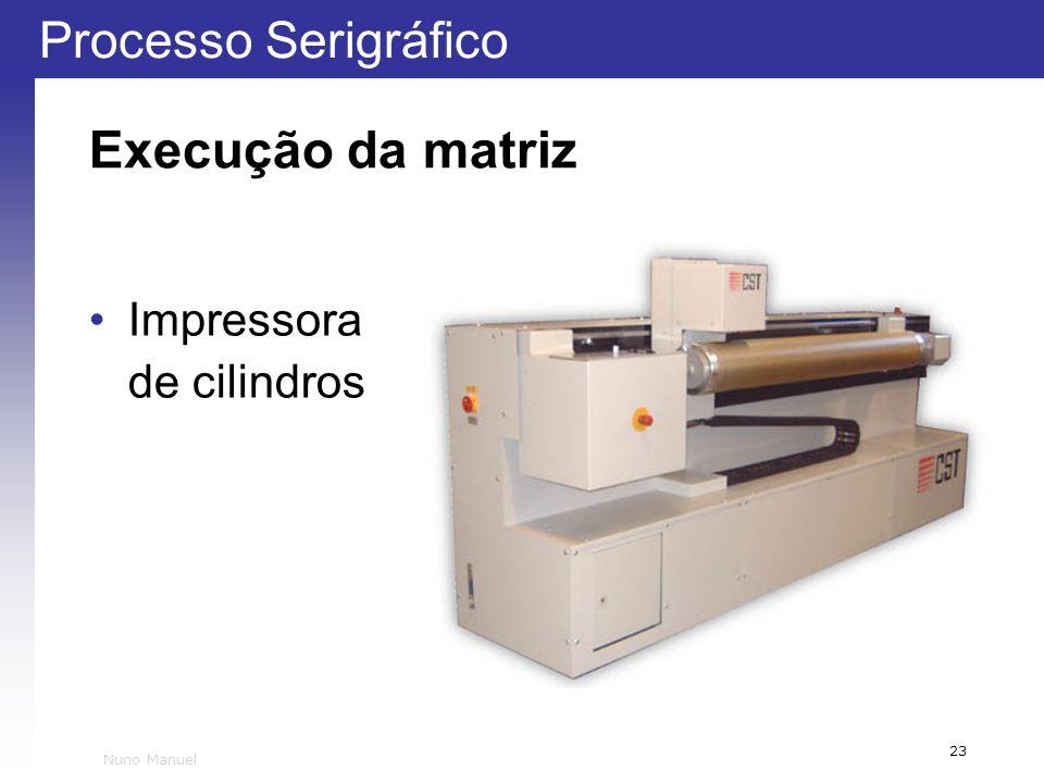 Processo Serigráfico 23 Nuno Manuel Execução da matriz Impressora de cilindros