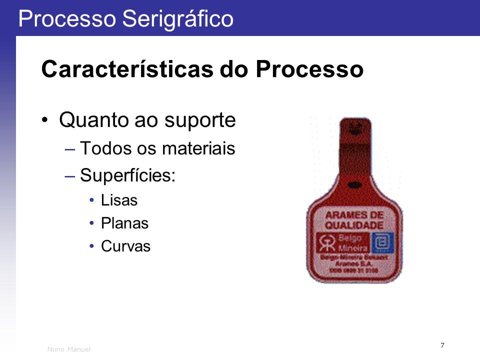 Processo Serigráfico 7 Nuno Manuel Características do Processo Quanto ao suporte –Todos os materiais –Superfícies: Lisas Planas Curvas
