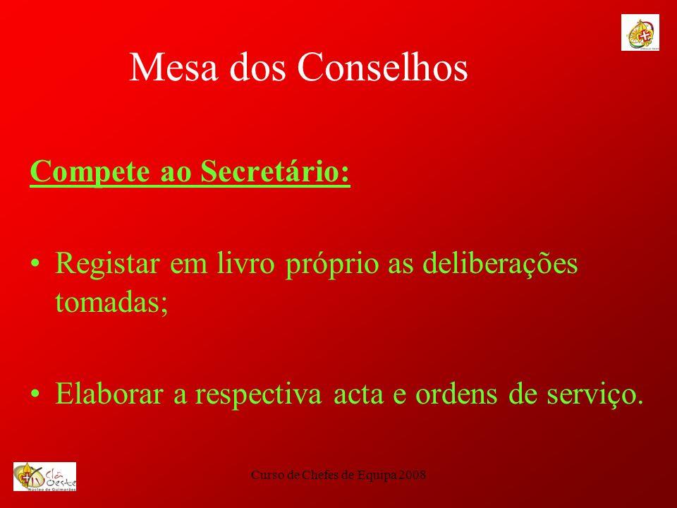 Curso de Chefes de Equipa 2008 Mesa dos Conselhos Compete ao Secretário: Registar em livro próprio as deliberações tomadas; Elaborar a respectiva acta
