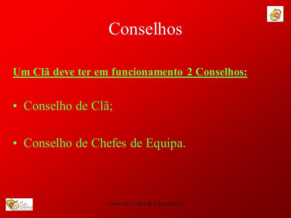 Curso de Chefes de Equipa 2008 Conselhos Um Clã deve ter em funcionamento 2 Conselhos: Conselho de Clã; Conselho de Chefes de Equipa.