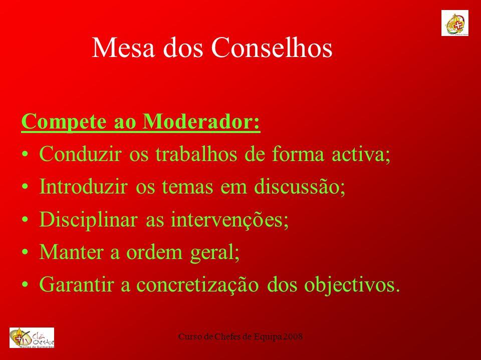 Curso de Chefes de Equipa 2008 Mesa dos Conselhos Compete ao Moderador: Conduzir os trabalhos de forma activa; Introduzir os temas em discussão; Disci