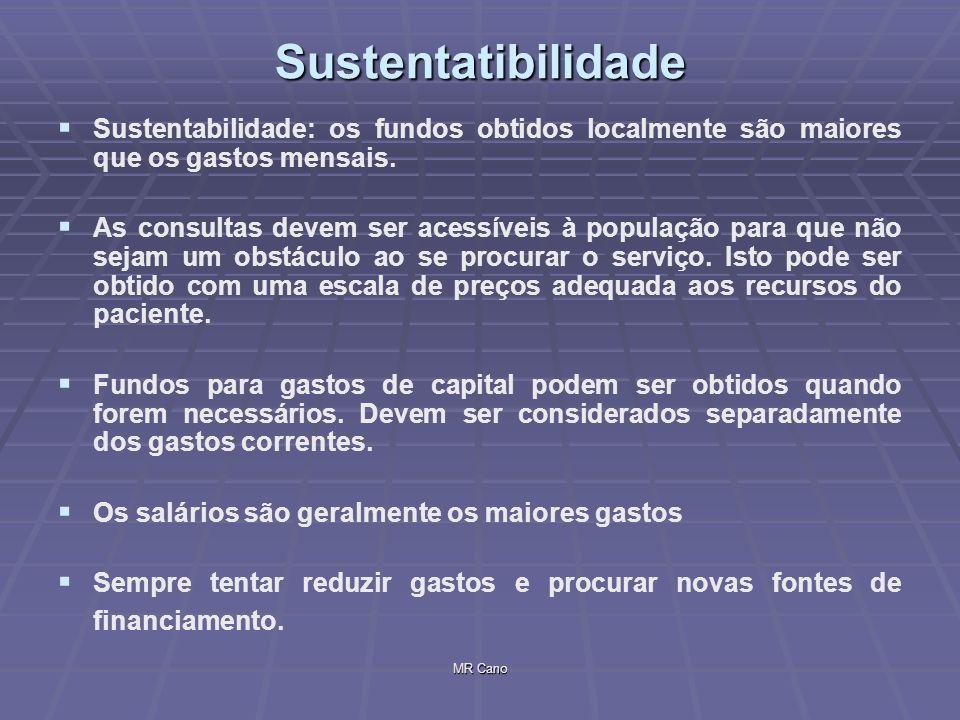 MR CanoSustentatibilidade Sustentabilidade: os fundos obtidos localmente são maiores que os gastos mensais. As consultas devem ser acessíveis à popula