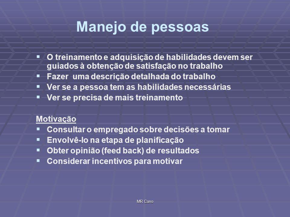 MR Cano Manejo de pessoas O treinamento e adquisição de habilidades devem ser guiados à obtenção de satisfação no trabalho Fazer uma descrição detalha