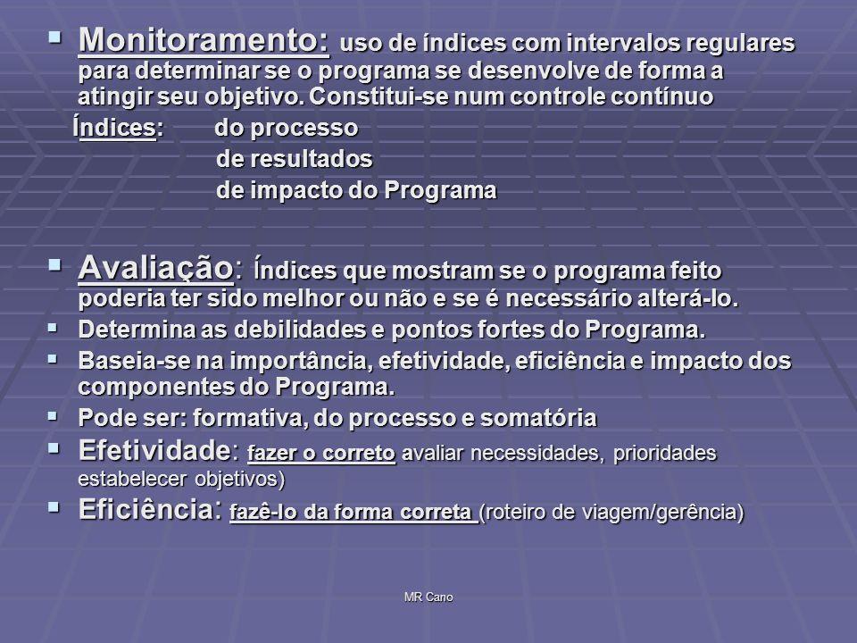 MR Cano Monitoramento: uso de índices com intervalos regulares para determinar se o programa se desenvolve de forma a atingir seu objetivo. Constitui-