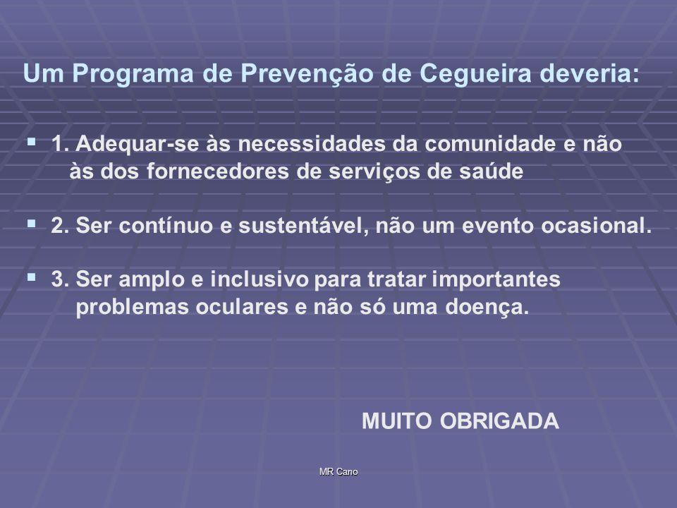 MR Cano Um Programa de Prevenção de Cegueira deveria: 1. Adequar-se às necessidades da comunidade e não às dos fornecedores de serviços de saúde 2. Se