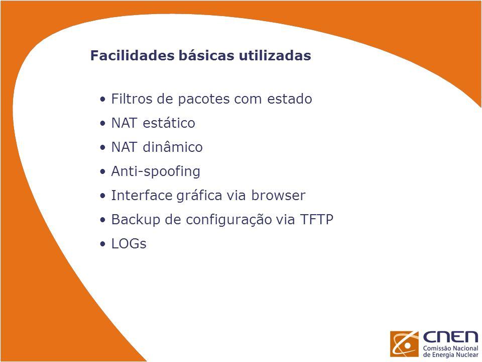 Facilidades básicas utilizadas Filtros de pacotes com estado NAT estático NAT dinâmico Anti-spoofing Interface gráfica via browser Backup de configura