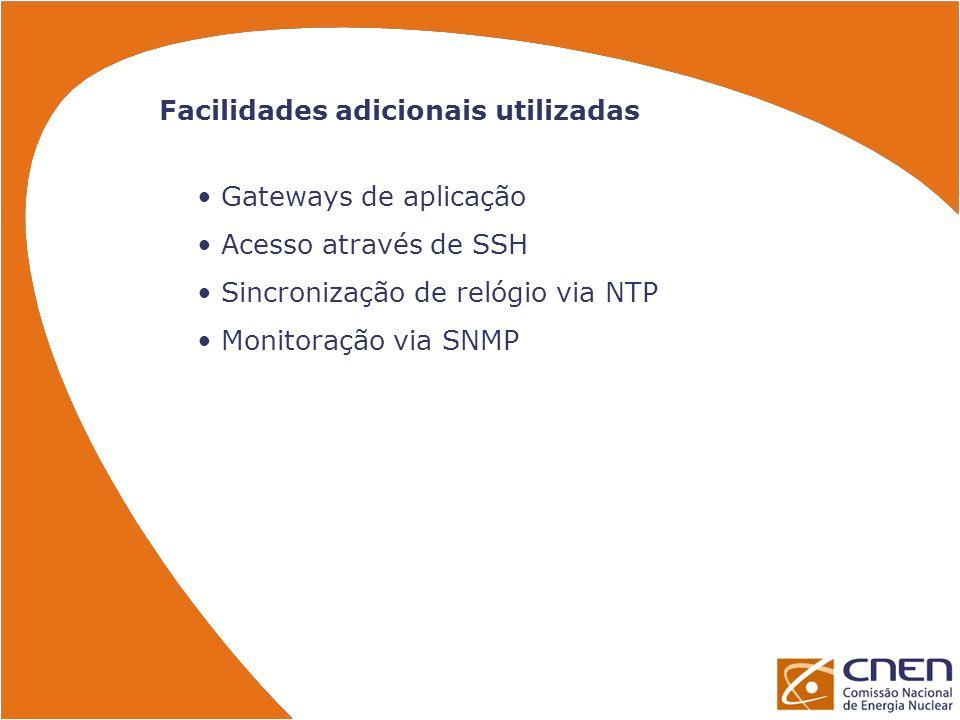 Facilidades adicionais utilizadas Gateways de aplicação Acesso através de SSH Sincronização de relógio via NTP Monitoração via SNMP