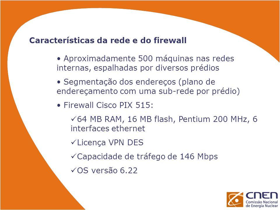 Características da rede e do firewall Aproximadamente 500 máquinas nas redes internas, espalhadas por diversos prédios Segmentação dos endereços (plan