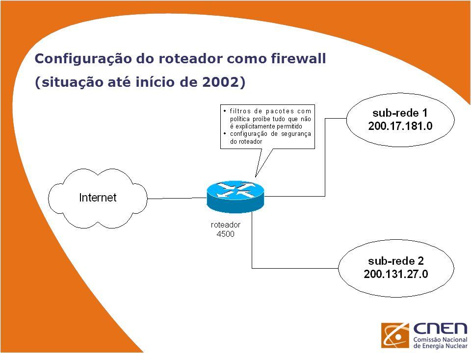 Planejamento da instalação do firewall Processo do instalação em passos para minimizar o tempo de parada da rede e reduzir riscos (04 passos) Plano de numeração IP utilizando endereçamento com IPs privativos (RFC1918) e NAT para acesso externo NAT n-1 com um endereço de NAT por sub- rede Teste da configuração do PIX em laboratório