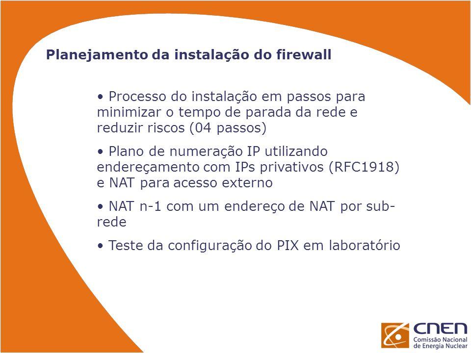 Planejamento da instalação do firewall Processo do instalação em passos para minimizar o tempo de parada da rede e reduzir riscos (04 passos) Plano de