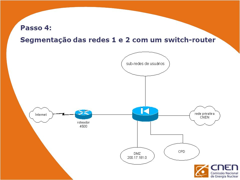 Passo 4: Segmentação das redes 1 e 2 com um switch-router
