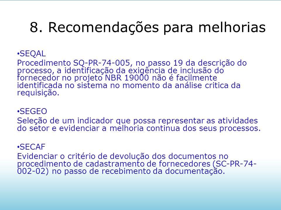 8. Recomendações para melhorias SEQAL Procedimento SQ-PR-74-005, no passo 19 da descrição do processo, a identificação da exigência de inclusão do for