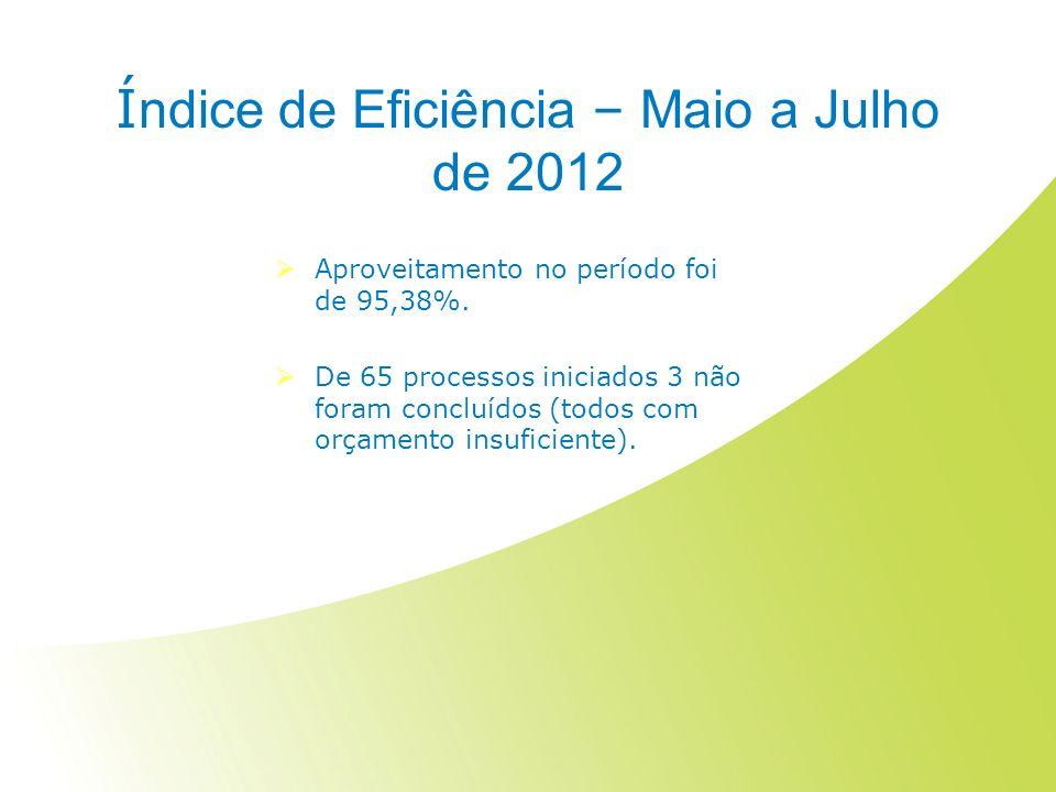 Í ndice de Eficiência – Maio a Julho de 2012 Aproveitamento no período foi de 95,38%.