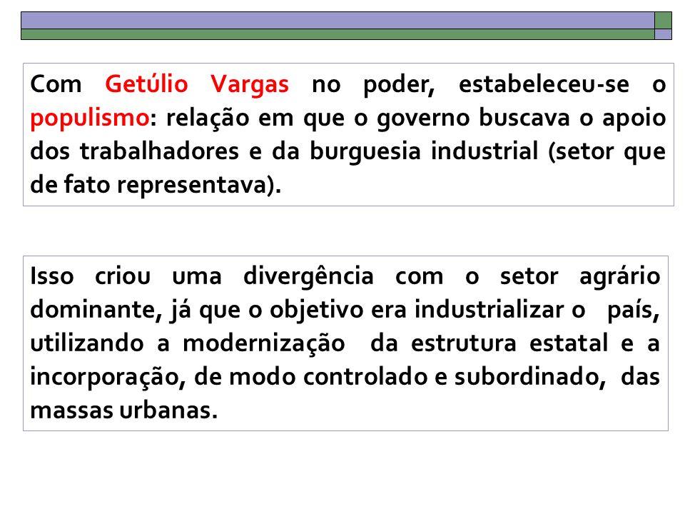 Com Getúlio Vargas no poder, estabeleceu-se o populismo: relação em que o governo buscava o apoio dos trabalhadores e da burguesia industrial (setor que de fato representava).