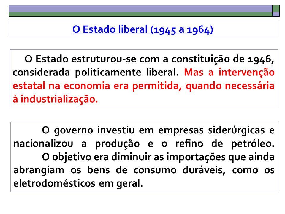 O Estado liberal (1945 a 1964) O Estado estruturou-se com a constituição de 1946, considerada politicamente liberal.