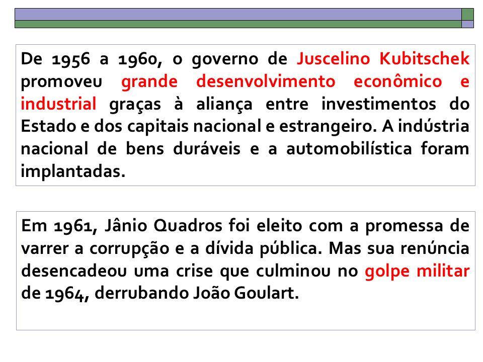 De 1956 a 1960, o governo de Juscelino Kubitschek promoveu grande desenvolvimento econômico e industrial graças à aliança entre investimentos do Estado e dos capitais nacional e estrangeiro.
