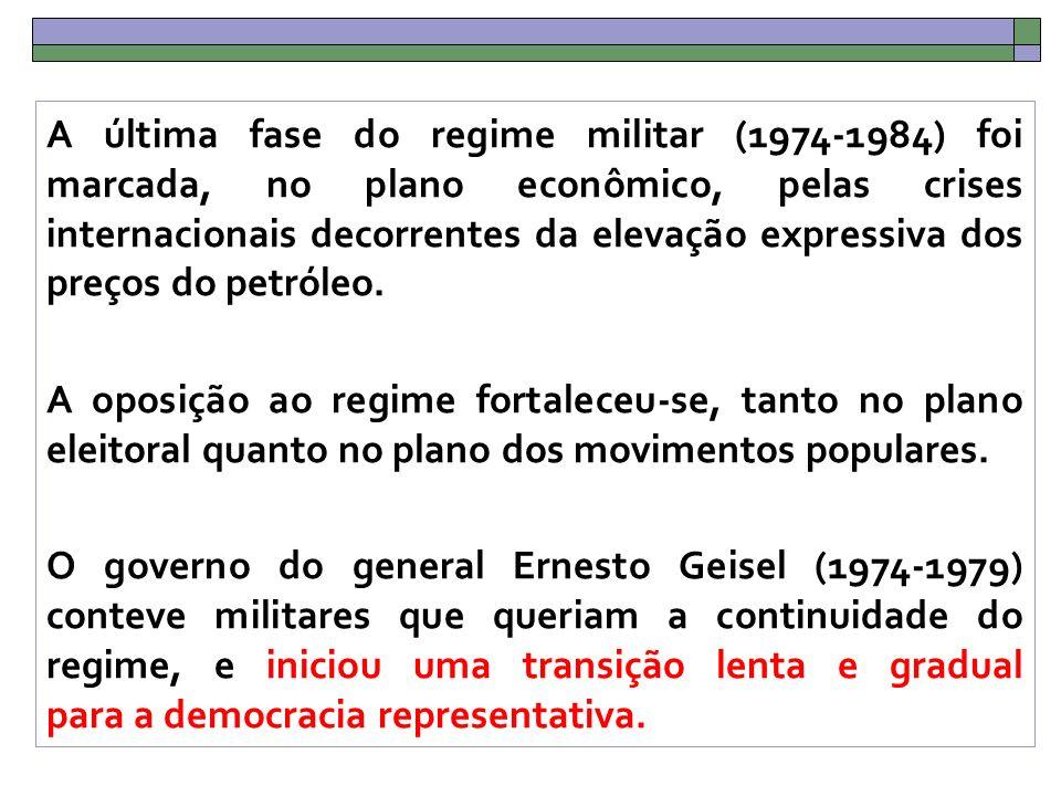 A última fase do regime militar (1974-1984) foi marcada, no plano econômico, pelas crises internacionais decorrentes da elevação expressiva dos preços do petróleo.
