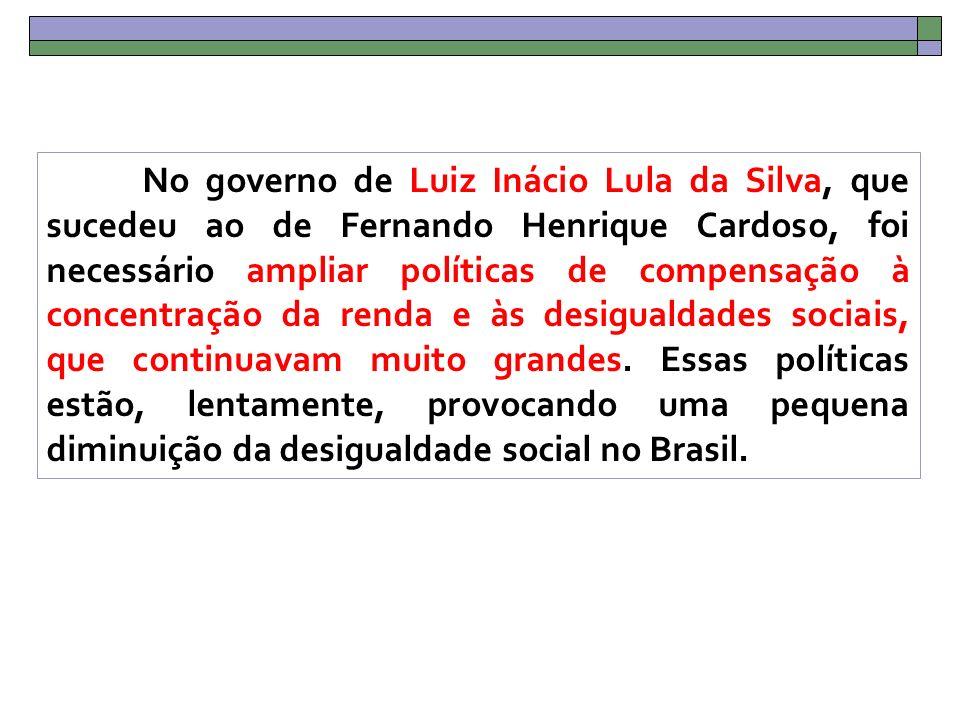 No governo de Luiz Inácio Lula da Silva, que sucedeu ao de Fernando Henrique Cardoso, foi necessário ampliar políticas de compensação à concentração da renda e às desigualdades sociais, que continuavam muito grandes.