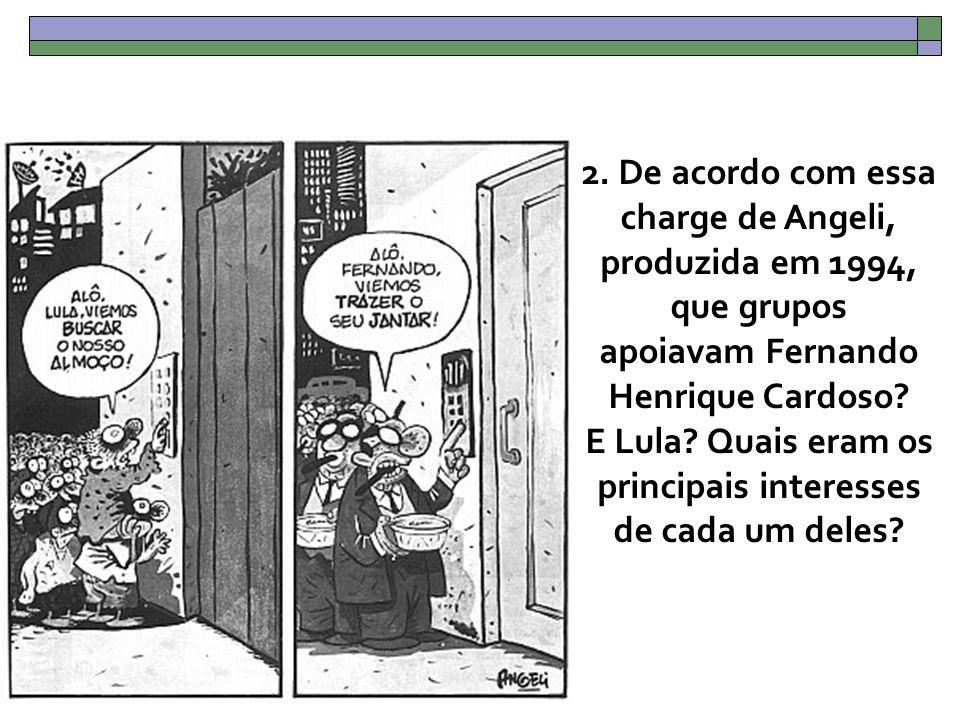 2. De acordo com essa charge de Angeli, produzida em 1994, que grupos apoiavam Fernando Henrique Cardoso? E Lula? Quais eram os principais interesses