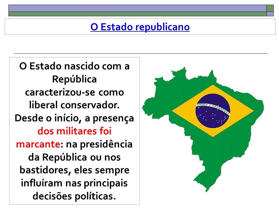 O Estado republicano O Estado nascido com a República caracterizou-se como liberal conservador.