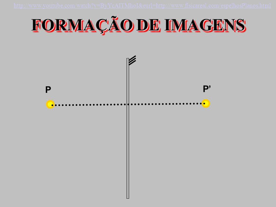 FORMAÇÃO DE IMAGENS P P http://www.youtube.com/watch?v=ByYcAITMhoI&eurl=http://www.fisicareal.com/espelhosPlanos.html