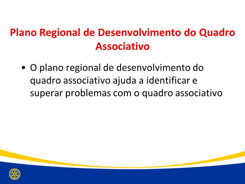 Plano Regional de Desenvolvimento do Quadro Associativo O plano regional de desenvolvimento do quadro associativo ajuda a identificar e superar proble