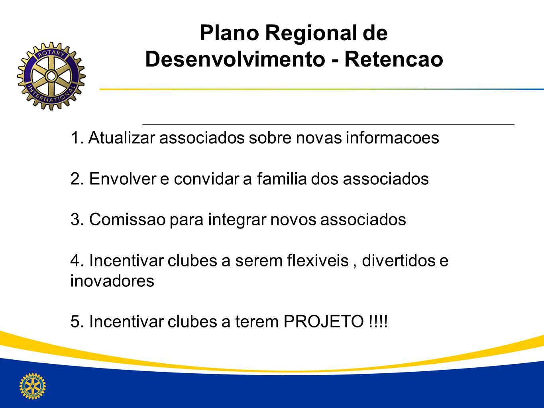Plano Regional de Desenvolvimento - Retencao 1. Atualizar associados sobre novas informacoes 2. Envolver e convidar a familia dos associados 3. Comiss