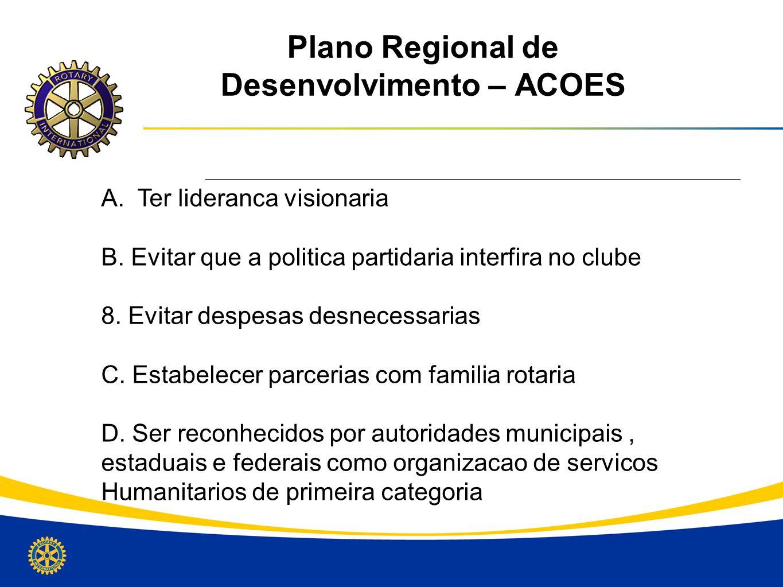 Plano Regional de Desenvolvimento – ACOES A. Ter lideranca visionaria B. Evitar que a politica partidaria interfira no clube 8. Evitar despesas desnec