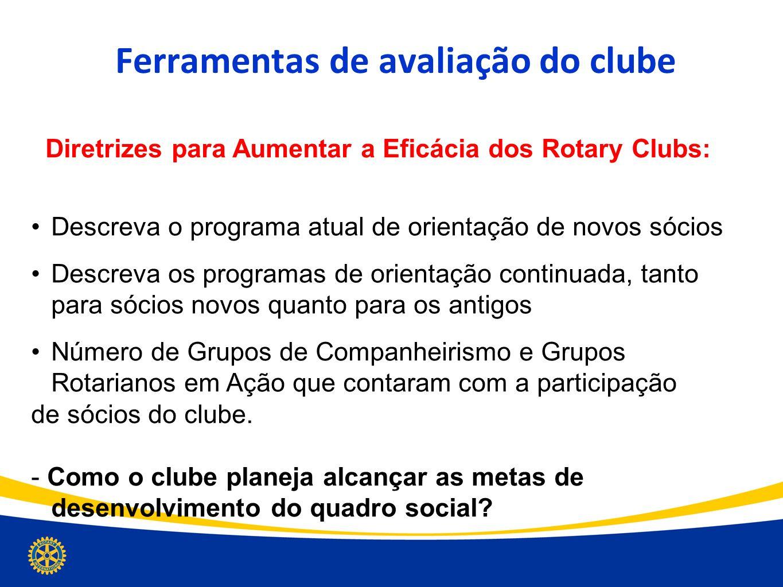Ferramentas de avaliação do clube Diretrizes para Aumentar a Eficácia dos Rotary Clubs: Descreva o programa atual de orientação de novos sócios Descre