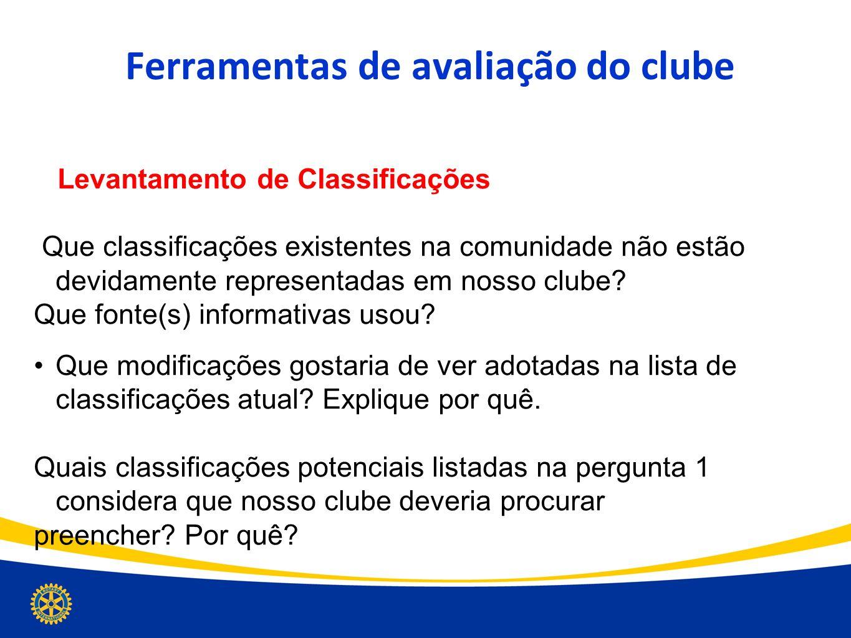 Ferramentas de avaliação do clube Levantamento de Classificações Que classificações existentes na comunidade não estão devidamente representadas em no
