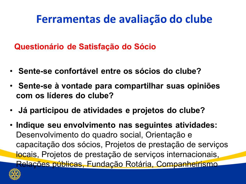 Ferramentas de avaliação do clube Questionário de Satisfação do Sócio Sente-se confortável entre os sócios do clube? Sente-se à vontade para compartil