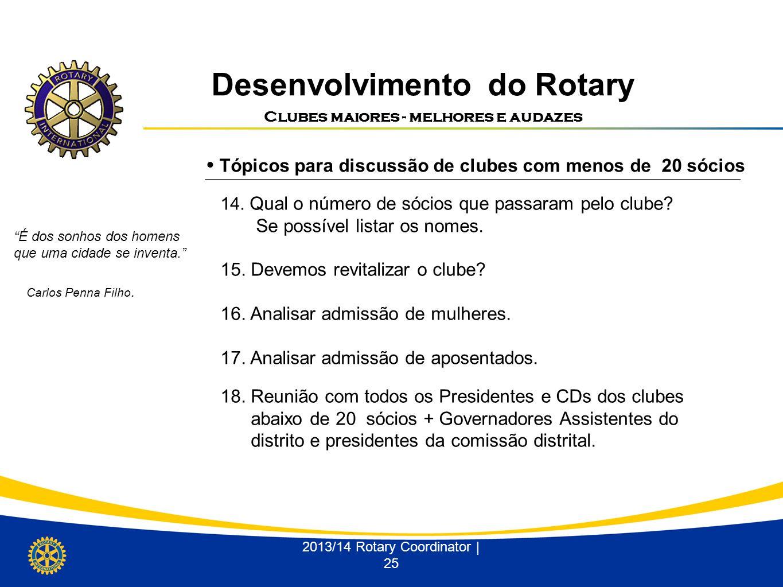 Desenvolvimento do Rotary Clubes maiores - melhores e audazes 2013/14 Rotary Coordinator | 25 Tópicos para discussão de clubes com menos de 20 sócios