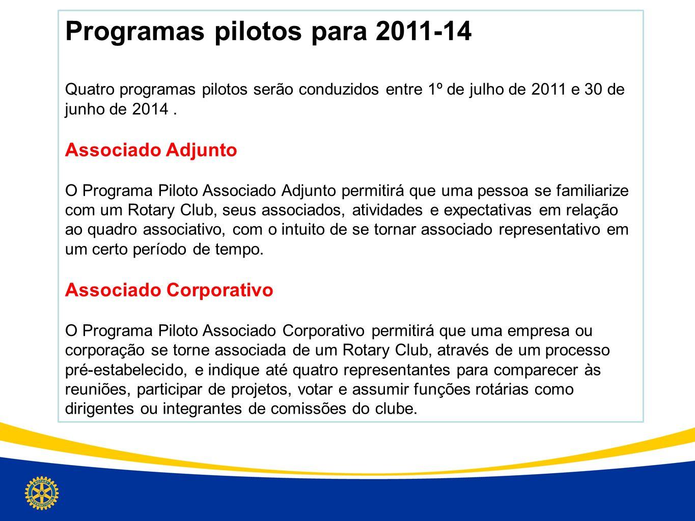 Programas pilotos para 2011-14 Quatro programas pilotos serão conduzidos entre 1º de julho de 2011 e 30 de junho de 2014. Associado Adjunto O Programa