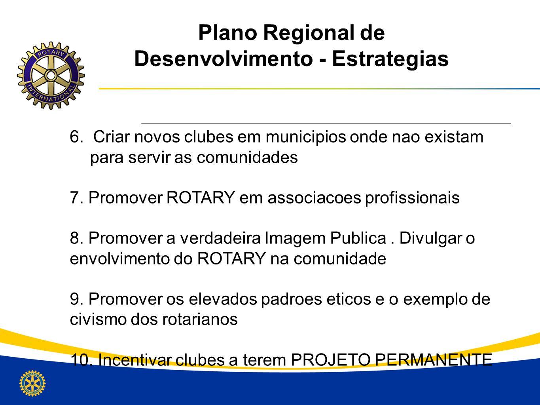 Plano Regional de Desenvolvimento - Estrategias 6. Criar novos clubes em municipios onde nao existam para servir as comunidades 7. Promover ROTARY em