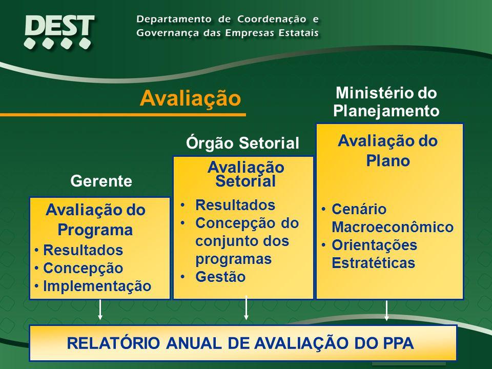Resultados Concepção Implementação Resultados Concepção do conjunto dos programas Gestão RELATÓRIO ANUAL DE AVALIAÇÃO DO PPA Gerente Órgão Setorial Mi
