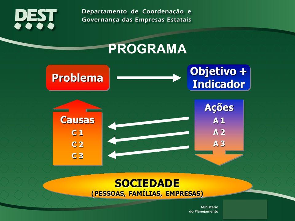 PROGRAMA ProblemaProblema Objetivo + Indicador Causas C 1 C 2 C 3 Causas C 1 C 2 C 3 SOCIEDADE (PESSOAS, FAMÍLIAS, EMPRESAS) SOCIEDADE Ações A 1 A 2 A