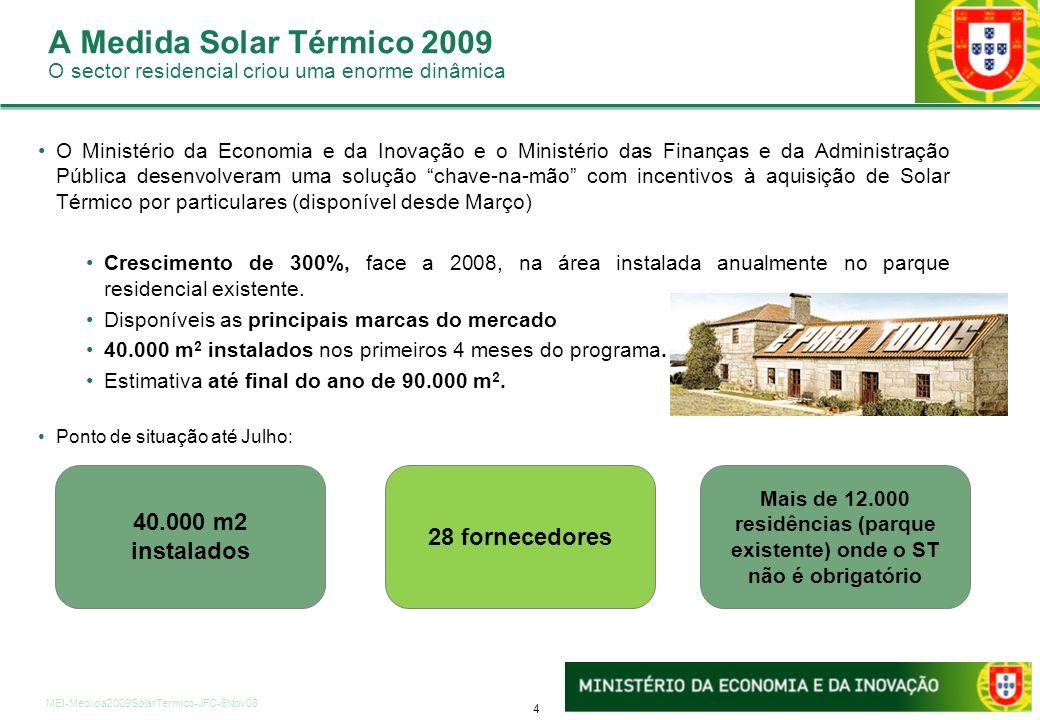 4 MEI-Medida2009SolarTermico-JFC-6Nov08 A Medida Solar Térmico 2009 O sector residencial criou uma enorme dinâmica 40.000 m2 instalados 28 fornecedore