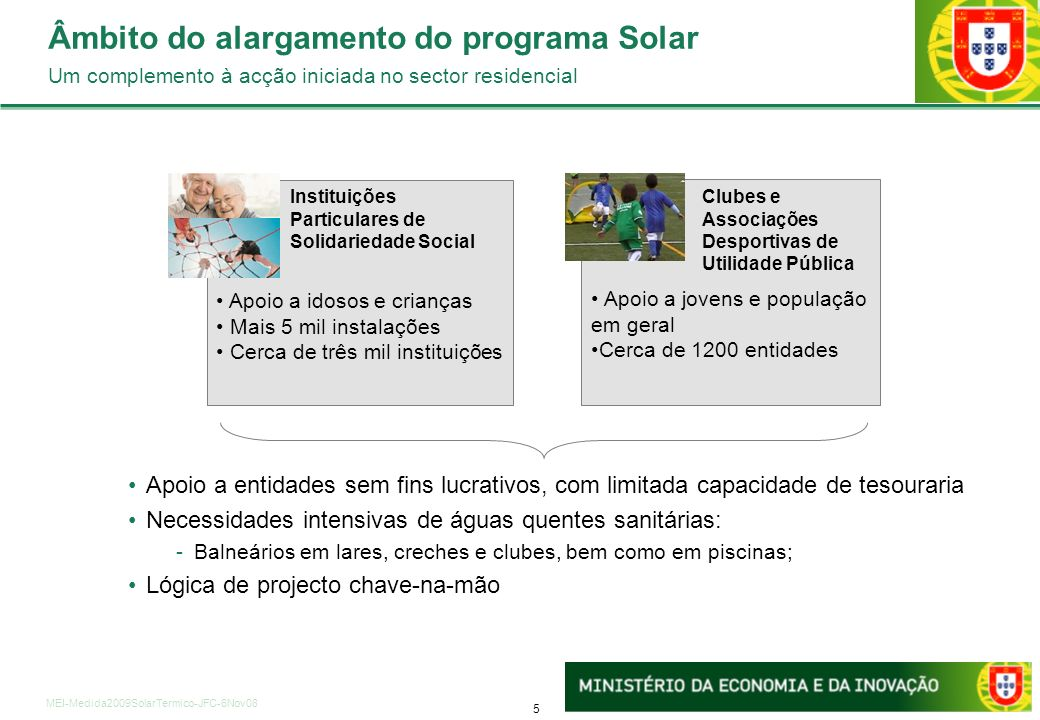 5 MEI-Medida2009SolarTermico-JFC-6Nov08 Apoio a jovens e população em geral Cerca de 1200 entidades Âmbito do alargamento do programa Solar Um complem