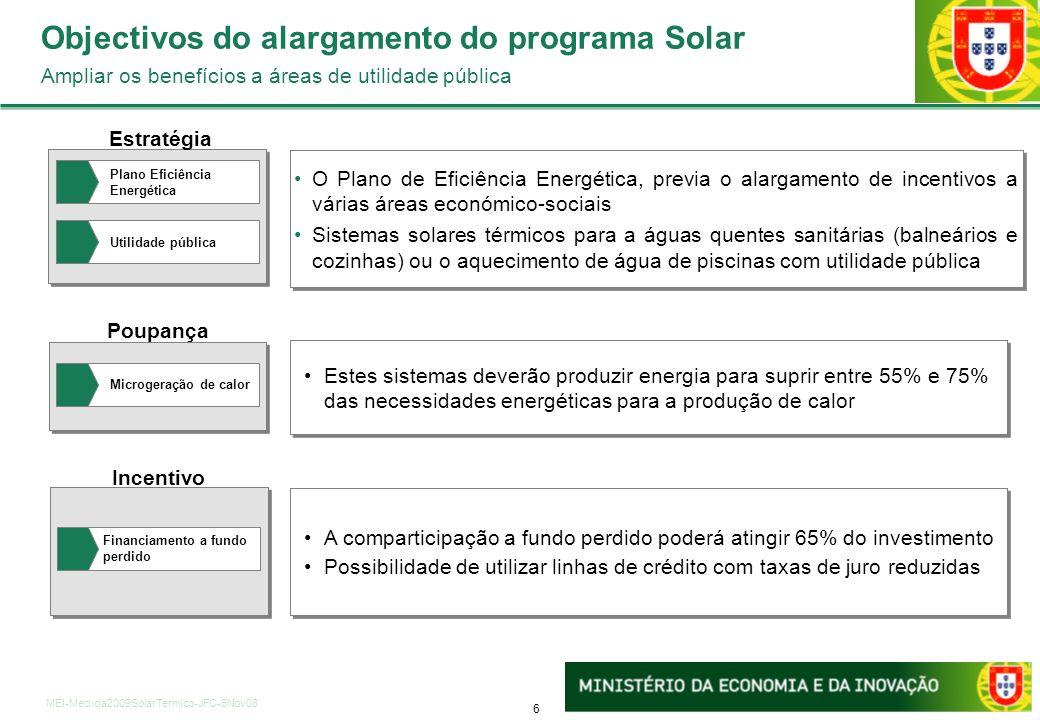 6 MEI-Medida2009SolarTermico-JFC-6Nov08 Incentivo A comparticipação a fundo perdido poderá atingir 65% do investimento Possibilidade de utilizar linhas de crédito com taxas de juro reduzidas A comparticipação a fundo perdido poderá atingir 65% do investimento Possibilidade de utilizar linhas de crédito com taxas de juro reduzidas Poupança Estes sistemas deverão produzir energia para suprir entre 55% e 75%das necessidades energéticas para a produção de calor Estratégia O Plano de Eficiência Energética, previa o alargamento de incentivos a várias áreas económico-sociais Sistemas solares térmicos para a águas quentes sanitárias (balneários e cozinhas) ou o aquecimento de água de piscinas com utilidade pública O Plano de Eficiência Energética, previa o alargamento de incentivos a várias áreas económico-sociais Sistemas solares térmicos para a águas quentes sanitárias (balneários e cozinhas) ou o aquecimento de água de piscinas com utilidade pública Plano Eficiência Energética Utilidade pública Financiamento a fundo perdido Programas do Portugal Eficiência 2015 (II/II) Principais medidas e objectivos Microgeração de calor Objectivos do alargamento do programa Solar Ampliar os benefícios a áreas de utilidade pública