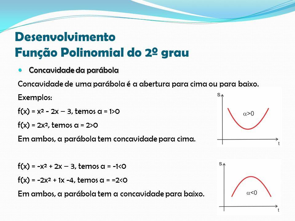 Desenvolvimento Função Polinomial do 2º grau Concavidade da parábola Concavidade da parábola Concavidade de uma parábola é a abertura para cima ou para baixo.