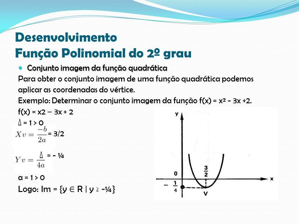 Desenvolvimento Função Polinomial do 2º grau Conjunto imagem da função quadrática Conjunto imagem da função quadrática Para obter o conjunto imagem de uma função quadrática podemos aplicar as coordenadas do vértice.
