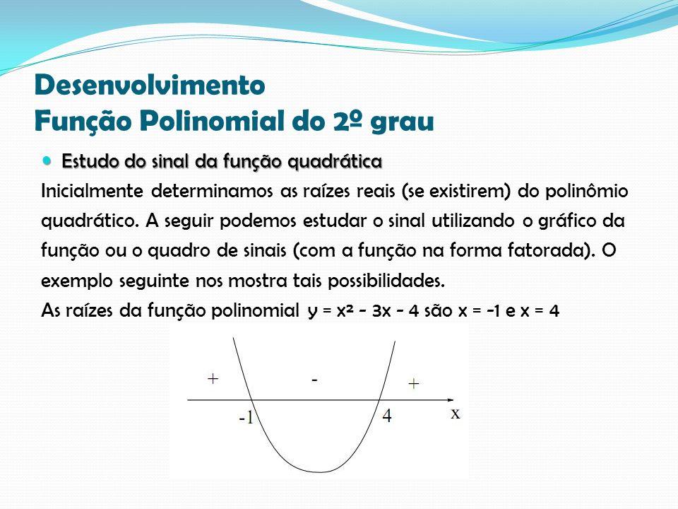 Desenvolvimento Função Polinomial do 2º grau Estudo do sinal da função quadrática Estudo do sinal da função quadrática Inicialmente determinamos as raízes reais (se existirem) do polinômio quadrático.