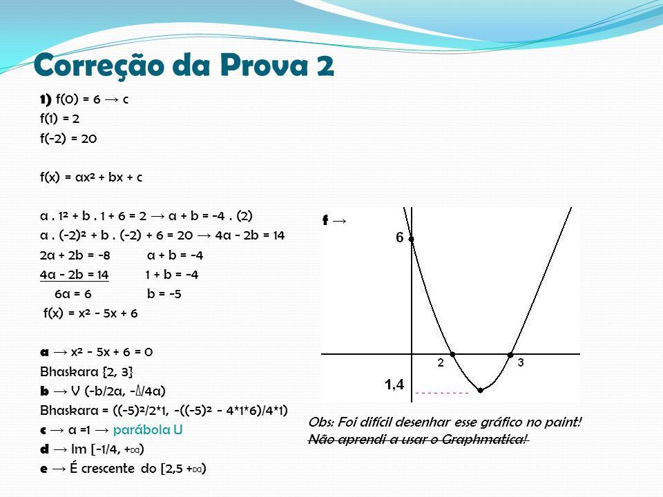 Correção da Prova 2 1) f(0) = 6 c f(1) = 2 f(-2) = 20 f(x) = ax² + bx + c a. 1² + b. 1 + 6 = 2 a + b = -4. (2) a. (-2)² + b. (-2) + 6 = 20 4a - 2b = 1