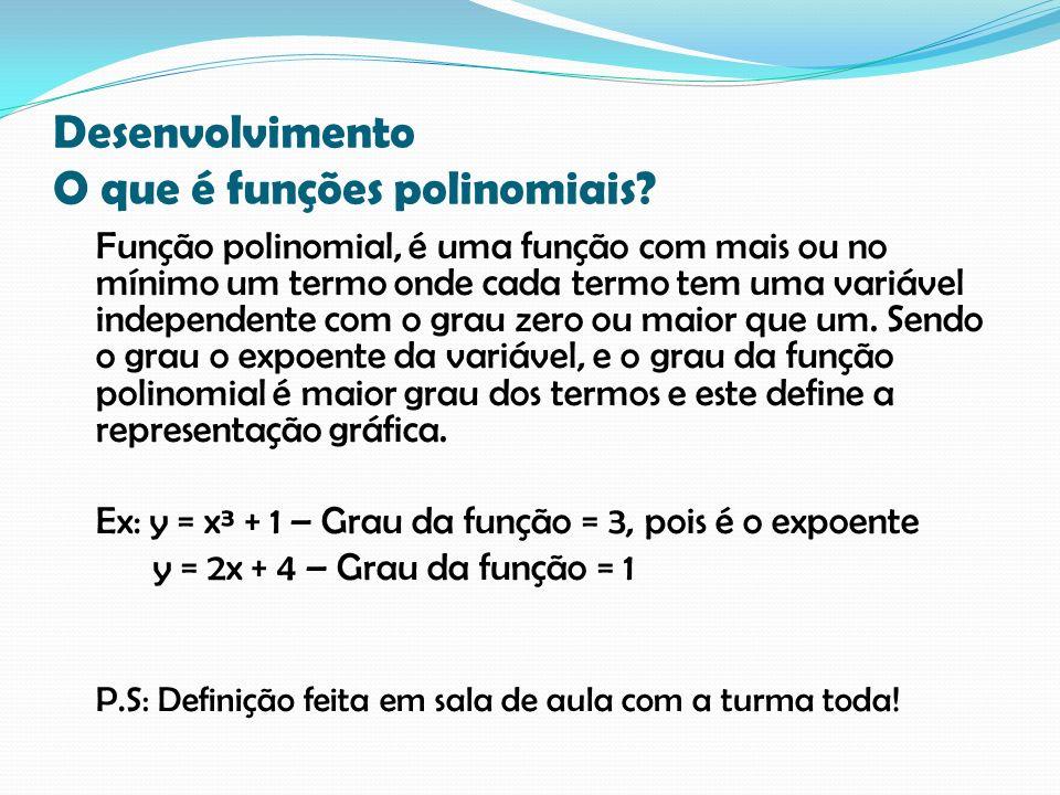 Desenvolvimento O que é funções polinomiais? Função polinomial, é uma função com mais ou no mínimo um termo onde cada termo tem uma variável independe