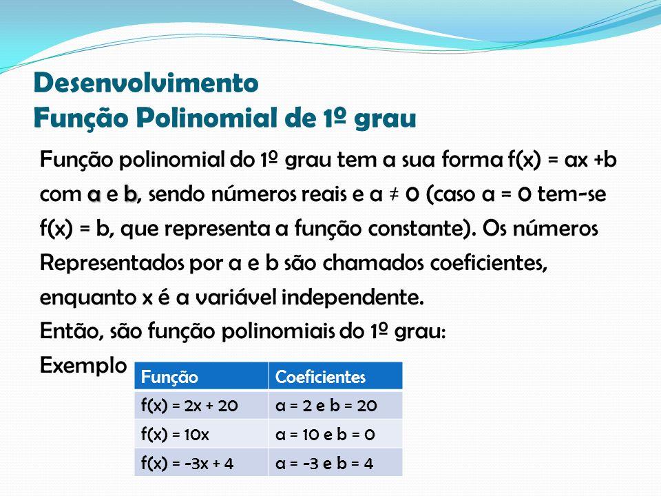 Desenvolvimento Função Polinomial de 1º grau Função polinomial do 1º grau tem a sua forma f(x) = ax +b a b com a e b, sendo números reais e a 0 (caso