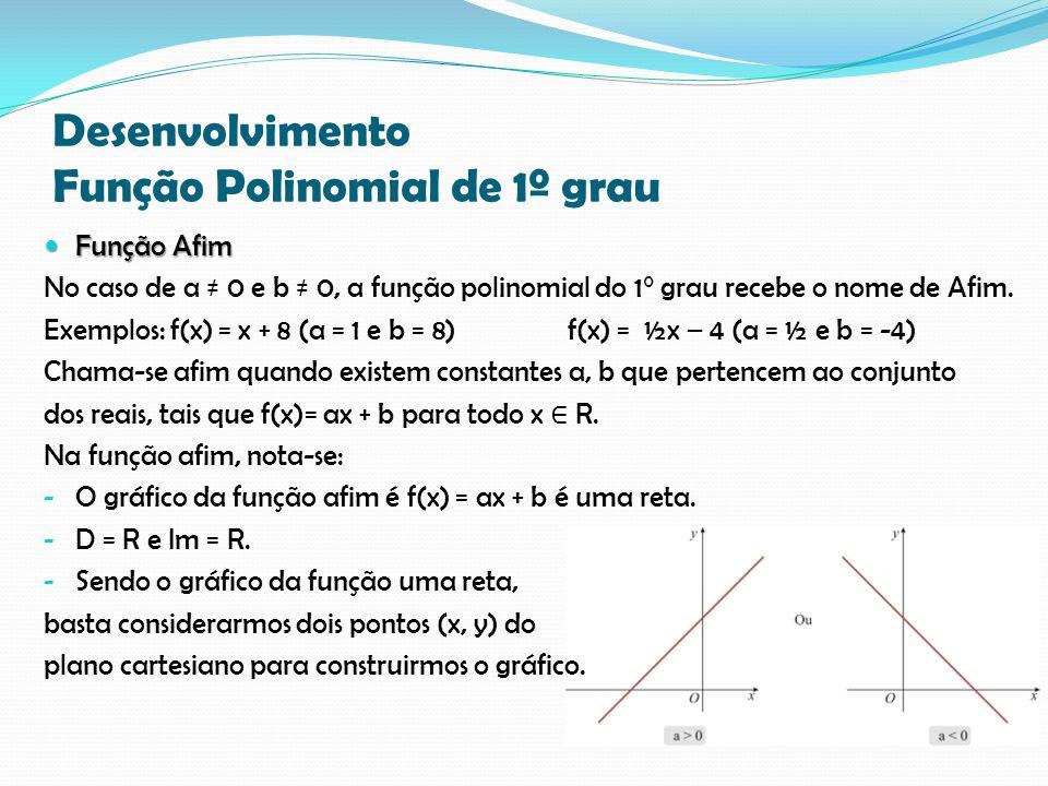 Desenvolvimento Função Polinomial de 1º grau Função Afim Função Afim No caso de a 0 e b 0, a função polinomial do 1° grau recebe o nome de Afim. Exemp